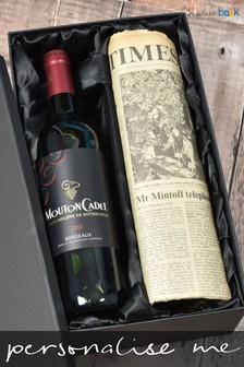 Personalised Vintage Bordeaux Red Wine And Newspaper Gift by Signature Book Publishing