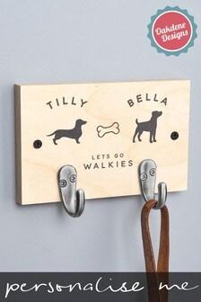 Personalised Two Dog Lead Hooks by Oakdene