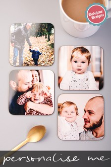 Personalised Set of 4 Photo Upload Coasters by Oakdene Designs