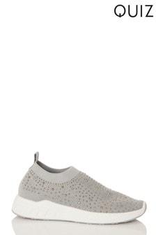 Quiz Grey Diamante Knitted White Sole Trainer