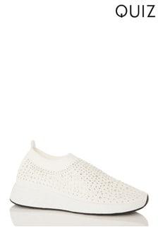 Quiz White Diamante Knitted White Sole Trainer