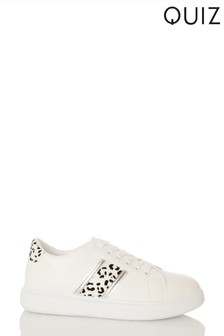 Quiz White Faux Croc Lace Up Trainer With Animal Stripe