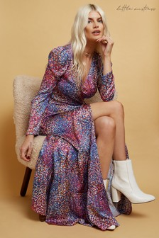 Little Mistress Simona Spot-Print Satin Maxi Wrap Dress