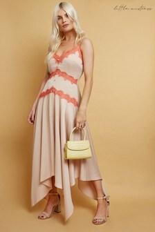 Little Mistress Elis Champagne Satin Lace-Trim Midaxi Dress