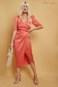 Little Mistress Aron Satin Mock Wrap Midi Dress