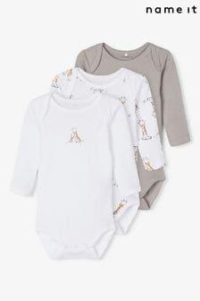Name It Baby Long Sleeve Bodysuit 3 Pack