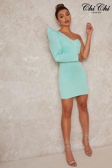 Chi Chi London One Shoulder Mini Dress In Green