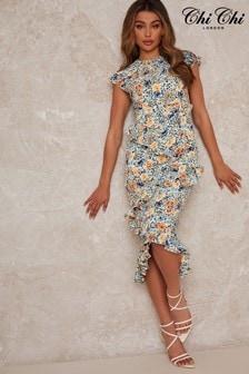 Chi Chi London Ruffle Floral Print Dress In Multicolour