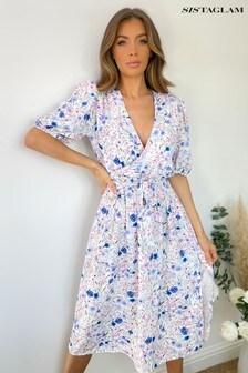 Sistaglam Ditsy Floral Wrap Midi Dress