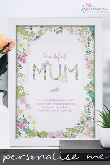 Personalised Beautiful Mum A4 Framed Print by Signature PG