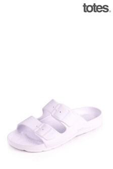 Totes Ladies Bounce Buckle Cross Slide Sandals