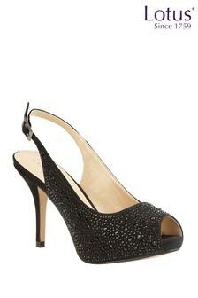 Lotus Footwear Black SlingBack Court Shoes