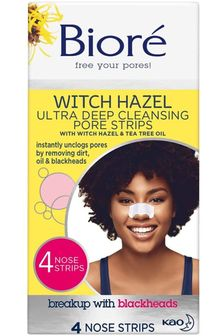 Biore Witch Hazel Ultra Deep Cleansing Pore Strips 4 Pack