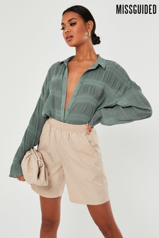 Missguided Sheer Crinkle Extreme Oversized Blouse