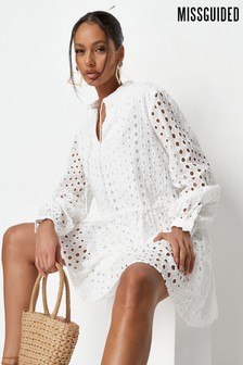 Missguided Tie Neck Tiered Broderie Smock Dress