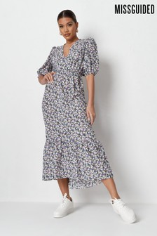 Missguided Wrap Front Tiered Midi Dress