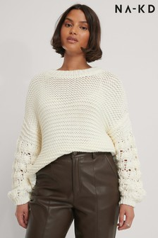 NA-KD Bubble Sleeve Knitted Jumper