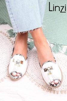 Linzi Dahlia Nappa Sling Back Peep Toe Sandal With Snake Detail