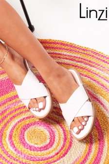 Linzi Harlem Slip On Slider With Woven Crossover Front Strap
