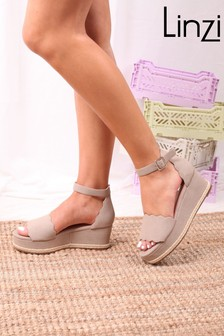Linzi Lula Covered Flatform With Wavey Front Strap Detail Roping