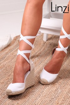 Linzi Meghan Canvas Closed Toe Espadrille Wedge With Tie Up Straps