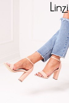 Linzi Selena Faux Leather Barely There Block High Heel