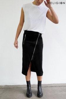 Religion Black Midi Skirt With Zip Detail