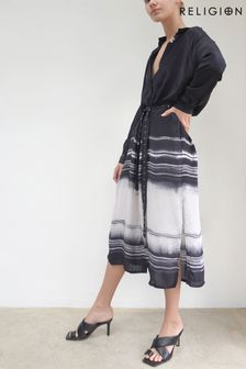 Religion Midi Shirt Dress With Tie Belt