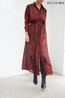 Religion Animal Print Midi Shirt Dress With Elasticated Belt