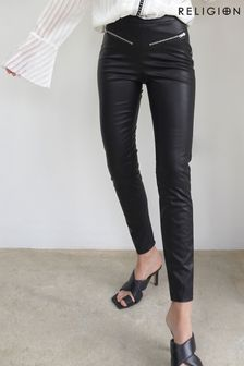 Religion Faux Stretch Black Leather Trousers With Zip Details