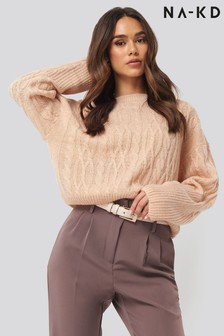 NA-KD Cropped Cable Knitted Jumper