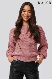NA-KD Melange Round Neck Knitted Jumper