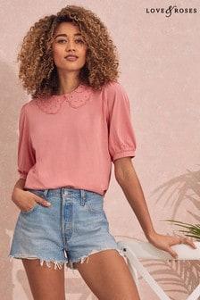 Love & Roses Broderie Collar T-Shirt