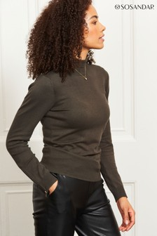 Sosandar Roll Neck Gold Zip Detail Jumper