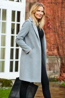 Sosandar Grey Overcoat With Pockets