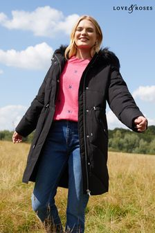 Love & Roses Shower Resistant Luxe Padded Parka