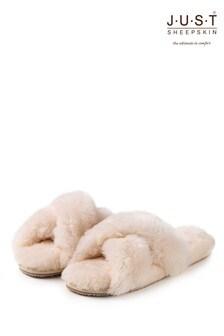 Just Sheepskin Daisy Cross Over Open Toe Slider Slipper