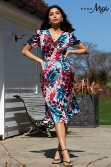 Pour Moi Margot Woven Satin Midi Tea Dress