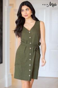 Pour Moi Lola Linen Blend Button Through Shift Dress