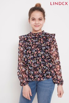 Lindex Kids Floral Print Ruffle Top