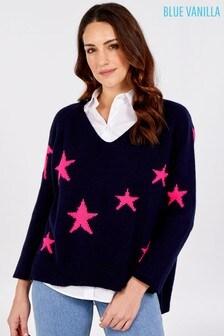 Blue Vanilla V Neck Knit Star Jumper