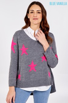 Blue Vanilla V Neck Knit Star Jumper