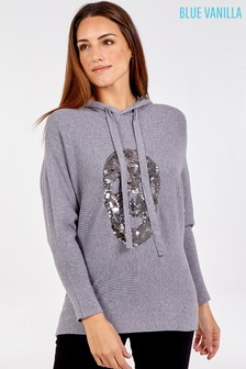 Blue Vanilla Sequin Skull Hooded Long Sleeve Jumper