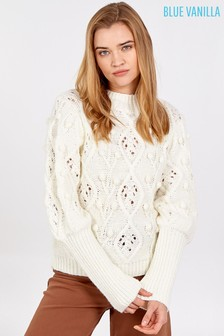 Blue Vanilla Puff Sleeve Embroidered Cable Jumper