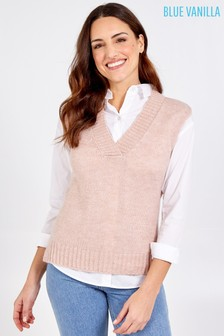 Blue Vanilla VNeck Sleeveless Sweater Vest