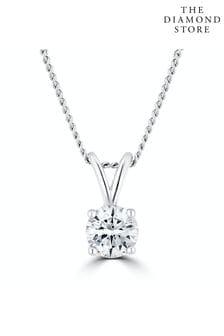The Diamond Store Lab Diamond Solitaire Necklace Pendant 0.25ct H/Si
