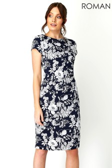 Roman Floral Print Side Ruched Dress