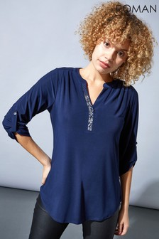 Roman 3/4 Sleeve Embellished Top