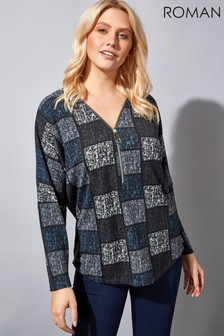 Roman Abstract Square Print Zip Top