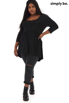 Simply Be 3/4 Sleeve Button Down Tunic